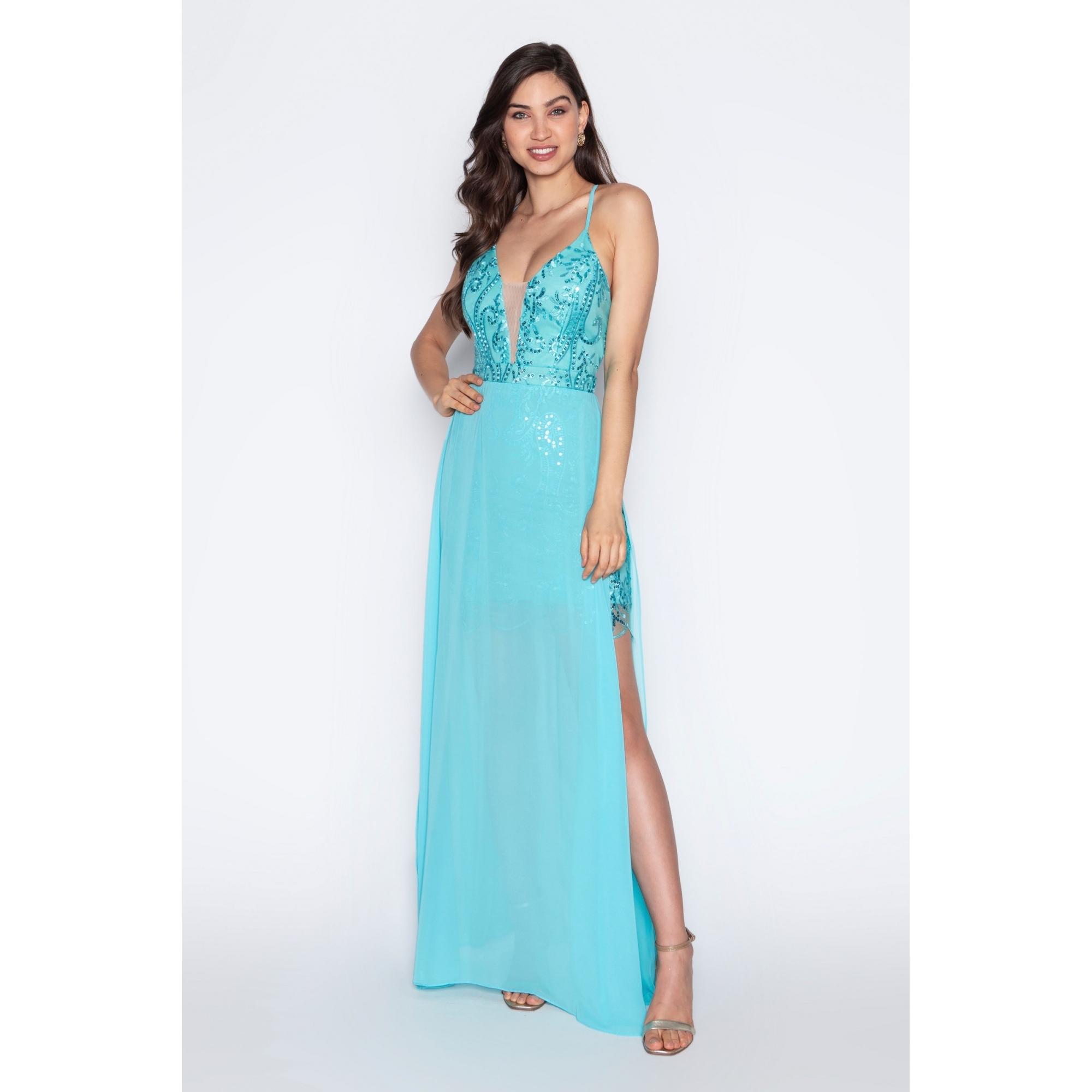 Vestido de festa para madrinha azul tiffany ref.P592