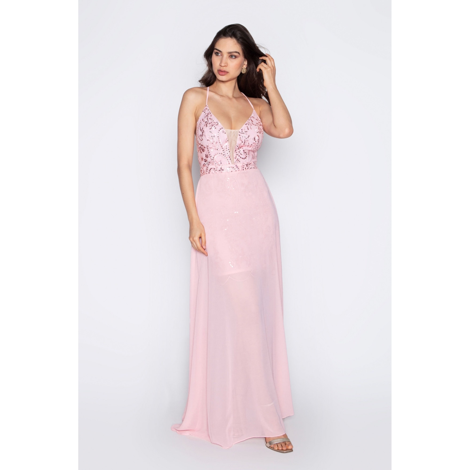 Vestido de festa para madrinha rosa ref.P592