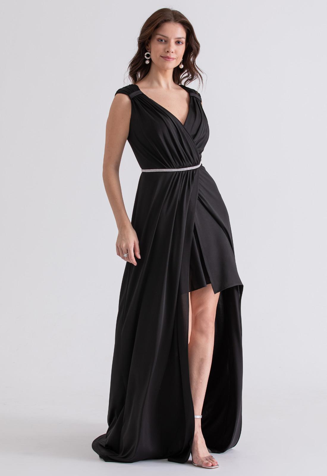 Vestido de festa preto deusa grega - Ref. 2314