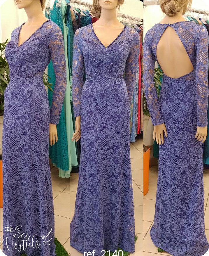 Vestido de festa renda com manga longa Azul Niagara ref. 2140