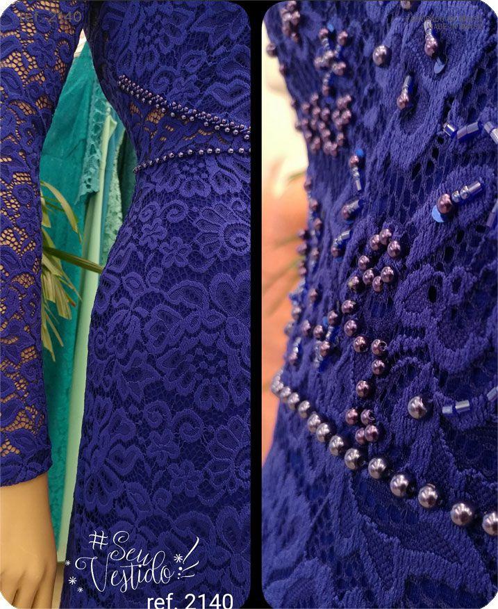 Vestido de festa renda com manga longa Azul Royal ref. 2140
