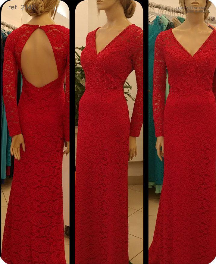 Vestido de festa renda com manga longa Vermelho ref. 2140