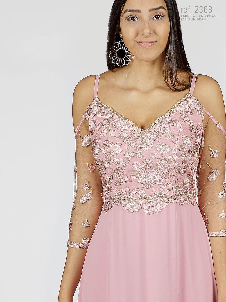 Vestido de festa rose bordado com detalhes dourados - Ref. 2368