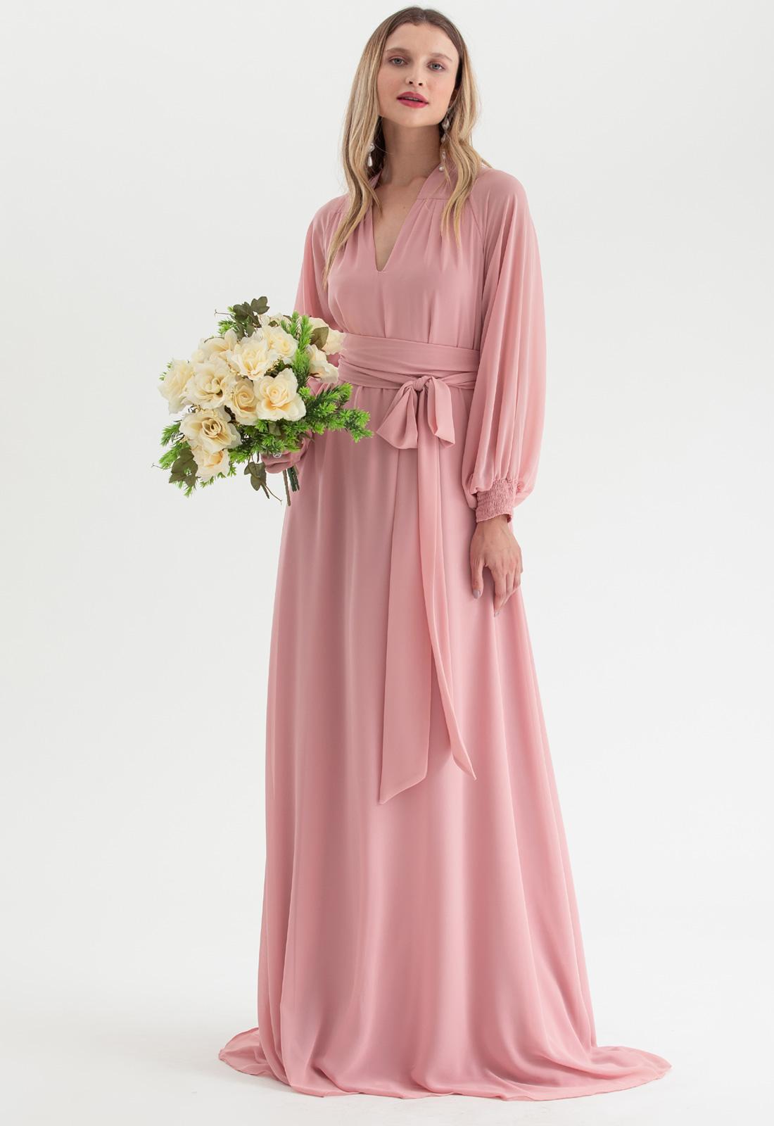 Vestido de festa Rosê multi-tamanho manga longa Ref. 2725