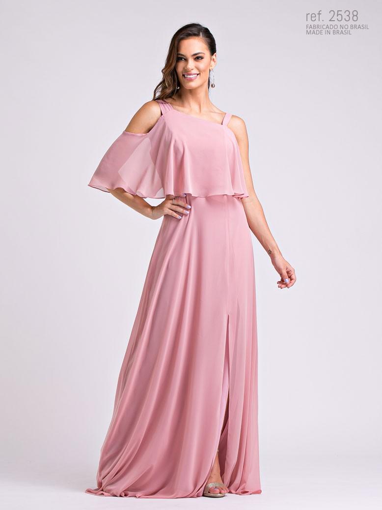 Vestido de festa rosê ombro a ombro - Ref. 2538