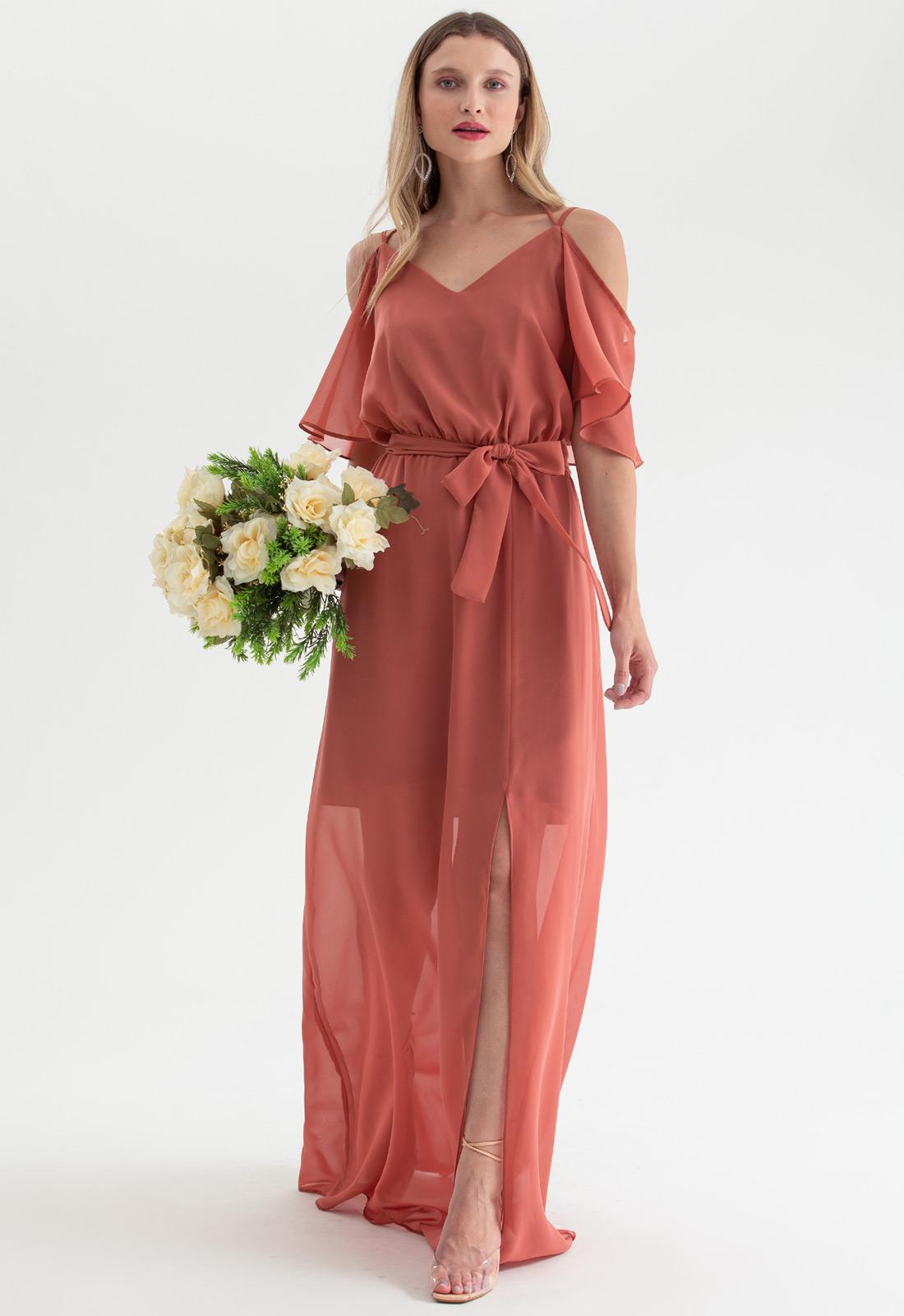Vestido de festa terracota alça - Ref. 2468