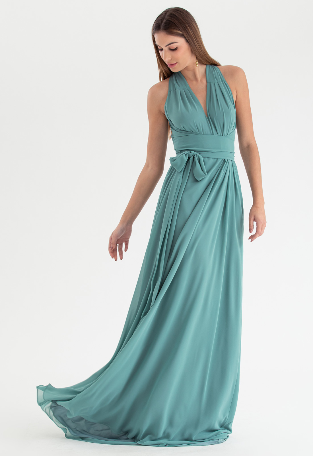 Vestido de festa verde salvia multi-tamanho Ref. 2580