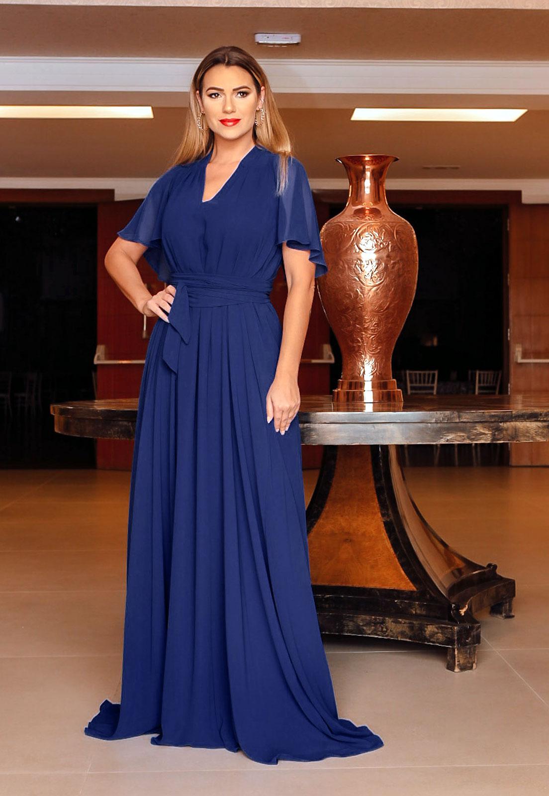 Vestido de madrinha azul marinho multi-tamanho ref.2593