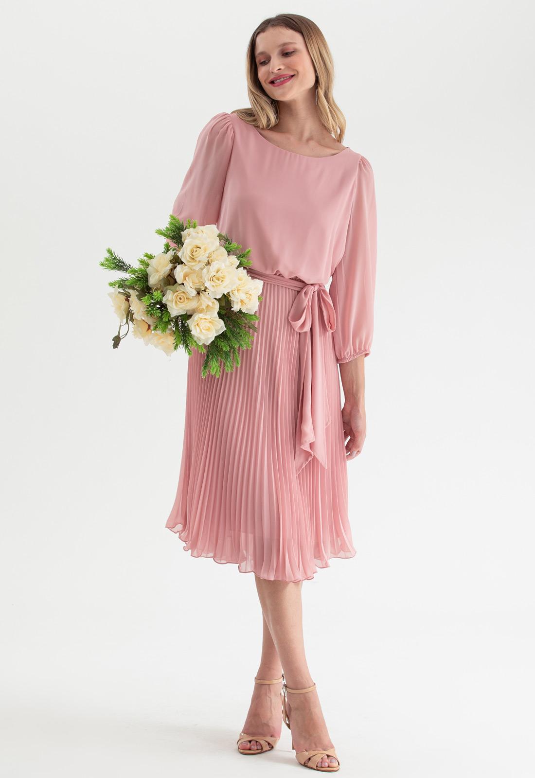 Vestido de madrinha plissado rosê rosa Ref. 2583