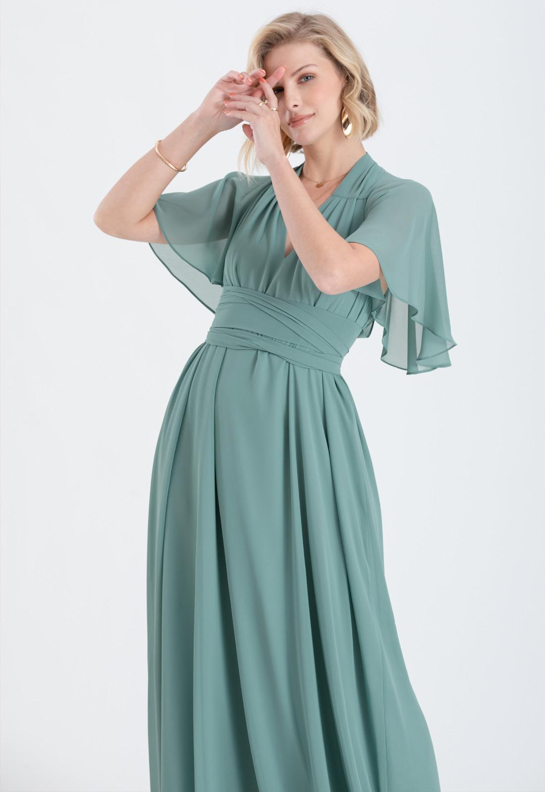 Vestido de madrinha verde salvia ajustável ref.2593