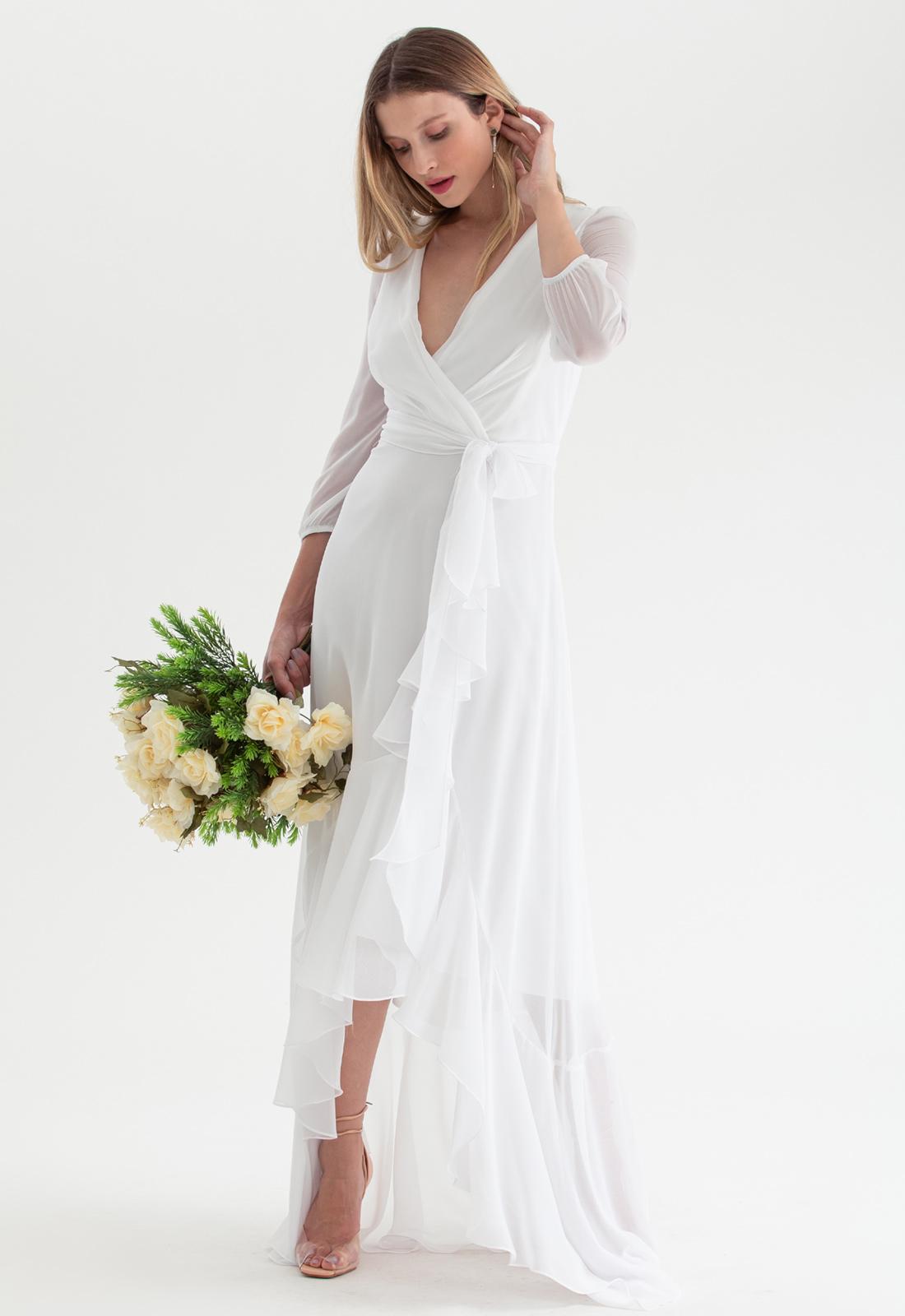 Vestido de noiva mullet Branco - Ref. 2543