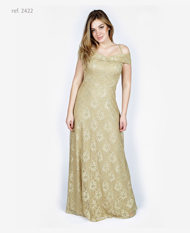 Vestido de festa dourado ombro a ombro - Ref. 2422