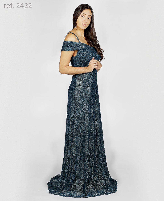 Vestido de renda lurex ombro-a-ombro decote princesa - Ref. 2422