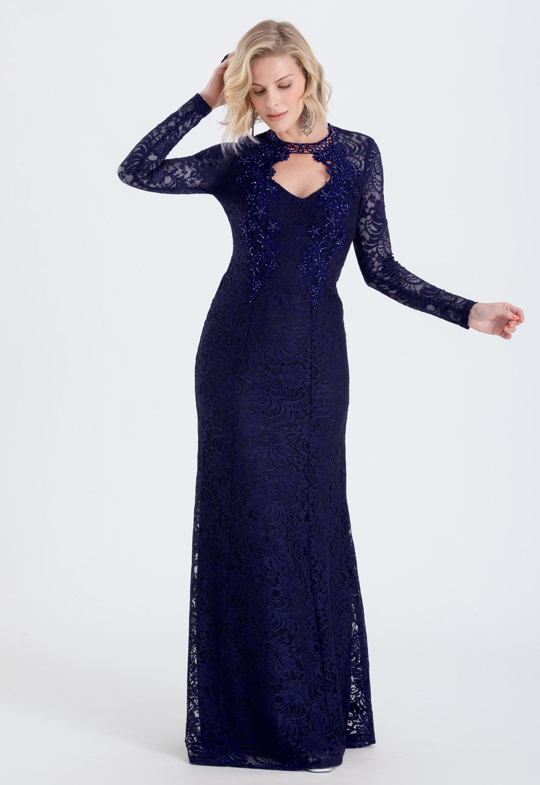 Vestido de renda Marinho manga longa Ref. 2424