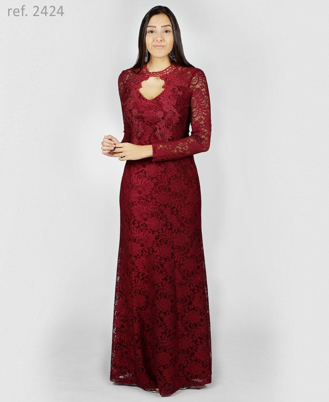 Vestido de renda Marsala manga longa com detalhes em guippir - Ref. 2424