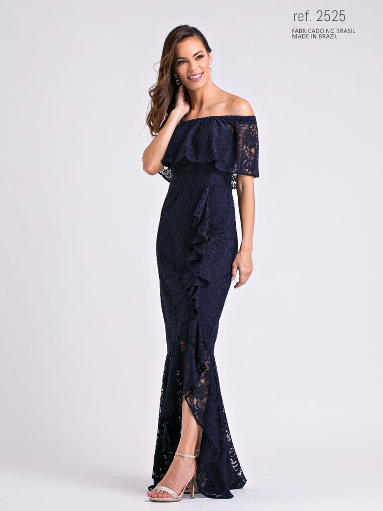 Vestido de renda mullet azul marinho ref. 2525