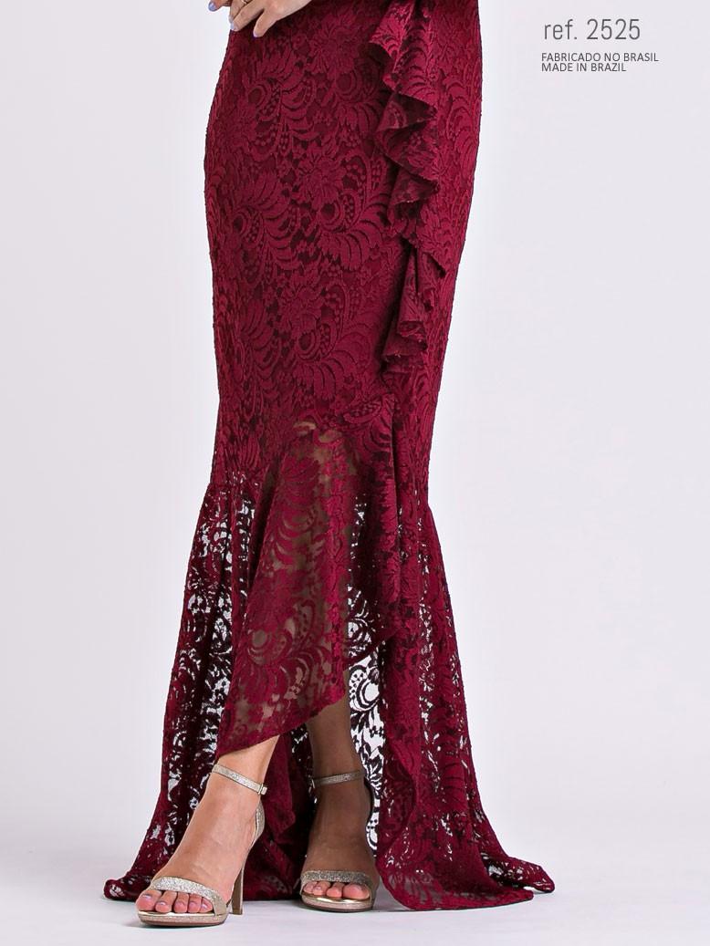vestido renda marsala