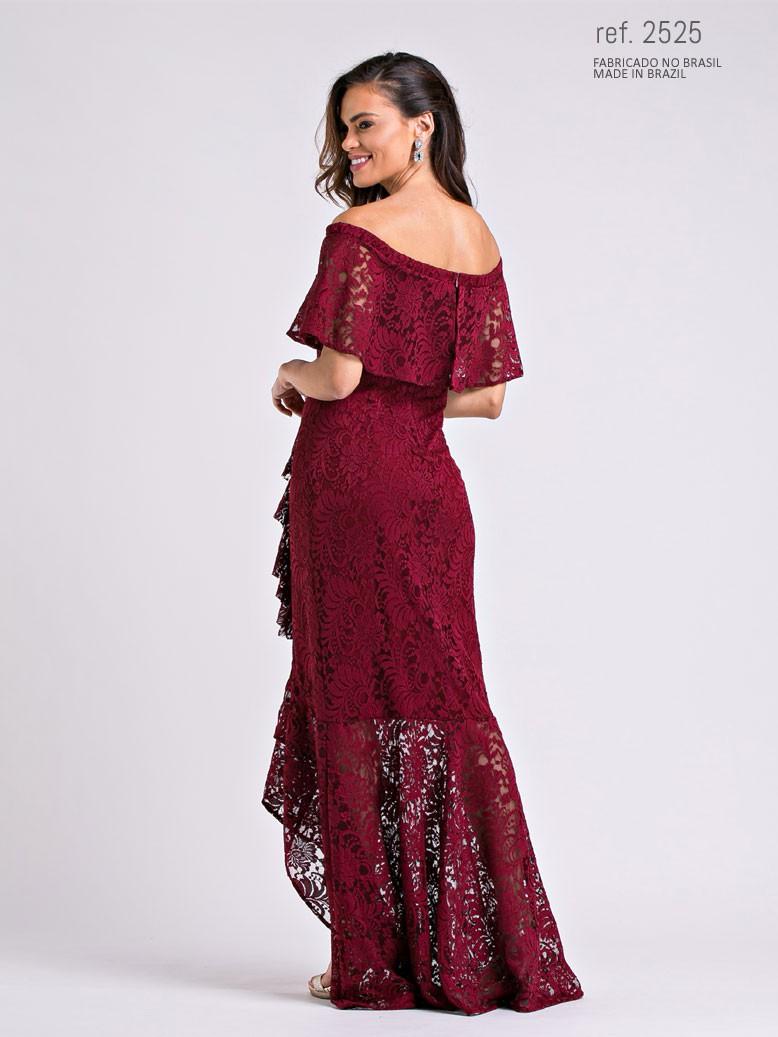 vestido mullet para casamento marsala