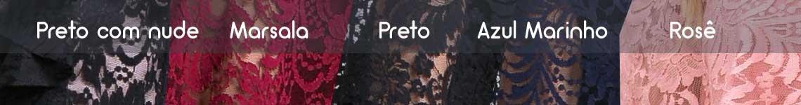 versões de cores do vestido de renda ombro a ombro