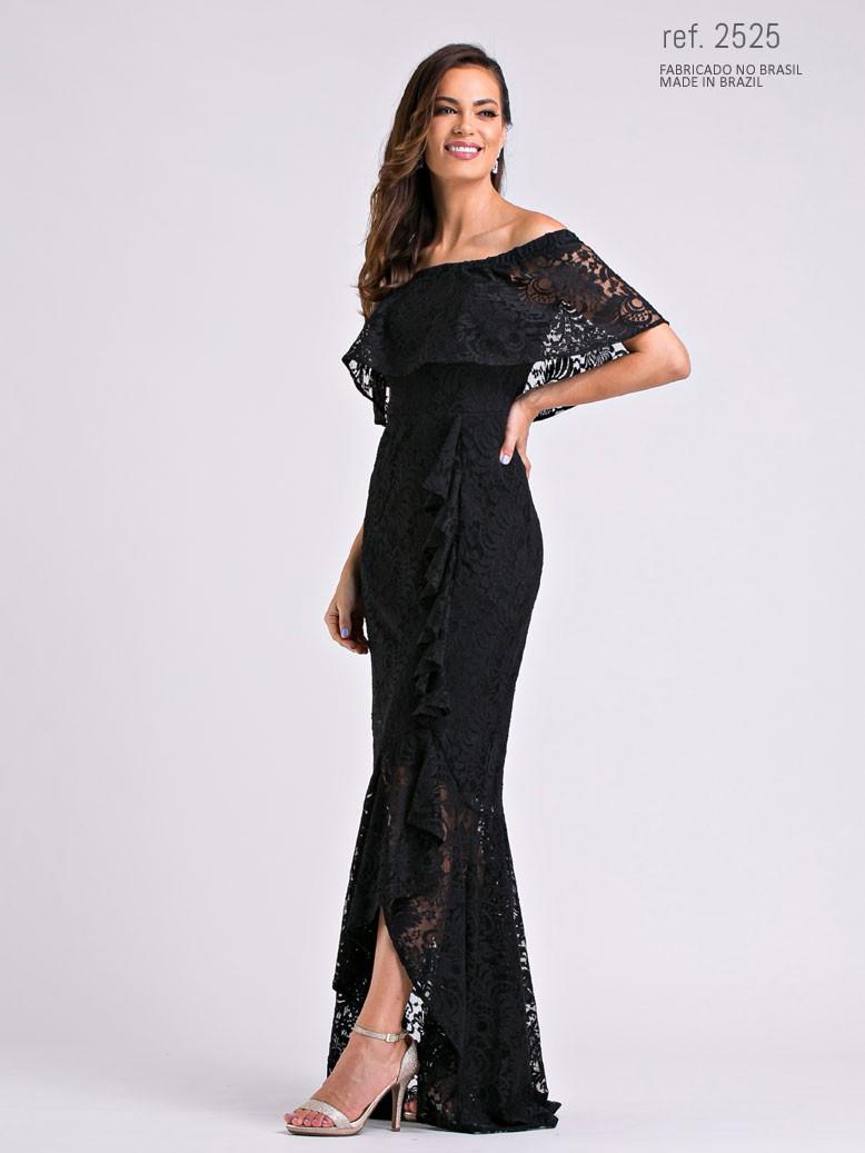 Vestido de renda mullet Preto   ref. 2525