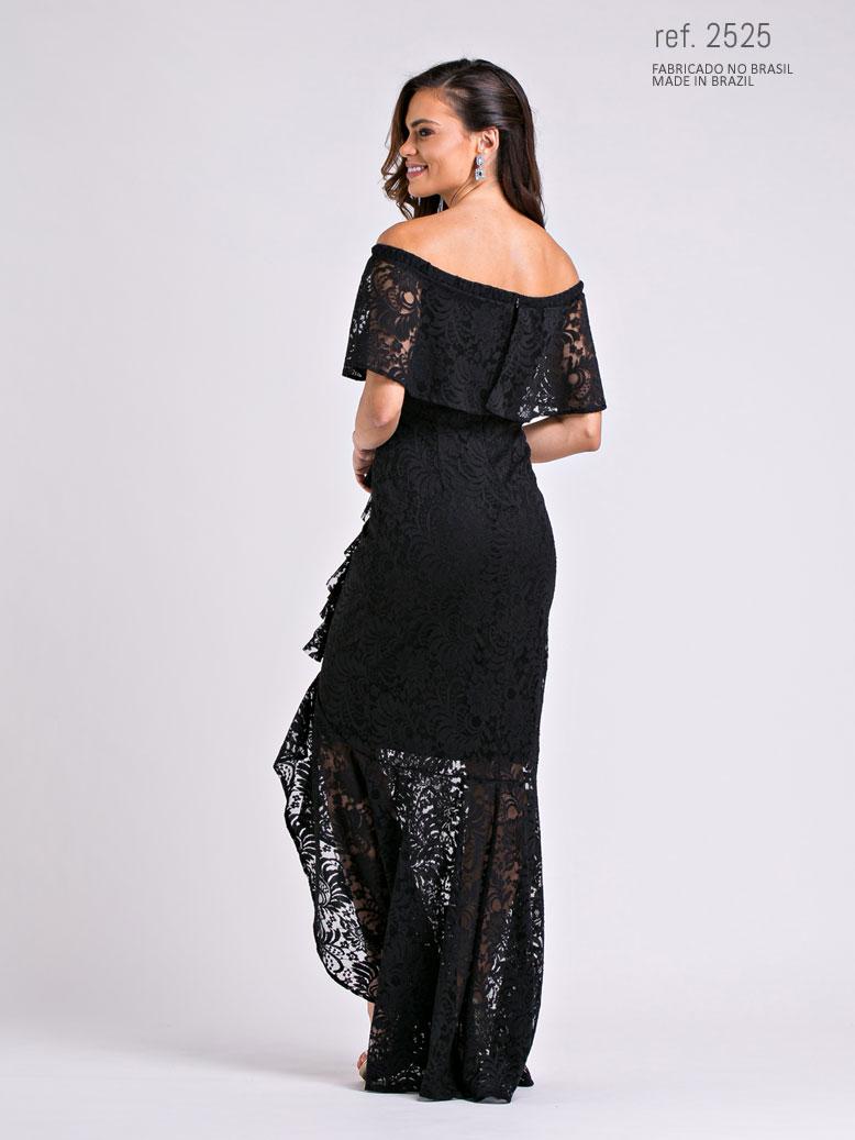 vestido mullet para casamento preto