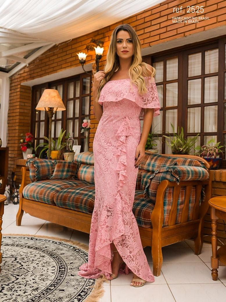 Vestido de renda mullet rosê  ref. 2525