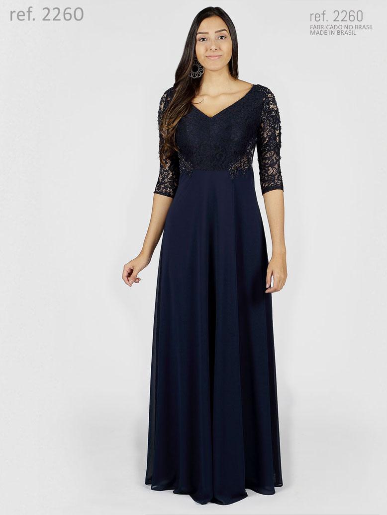 Vestido de renda para festa com manga 3/4 e bordado - Ref. 2260