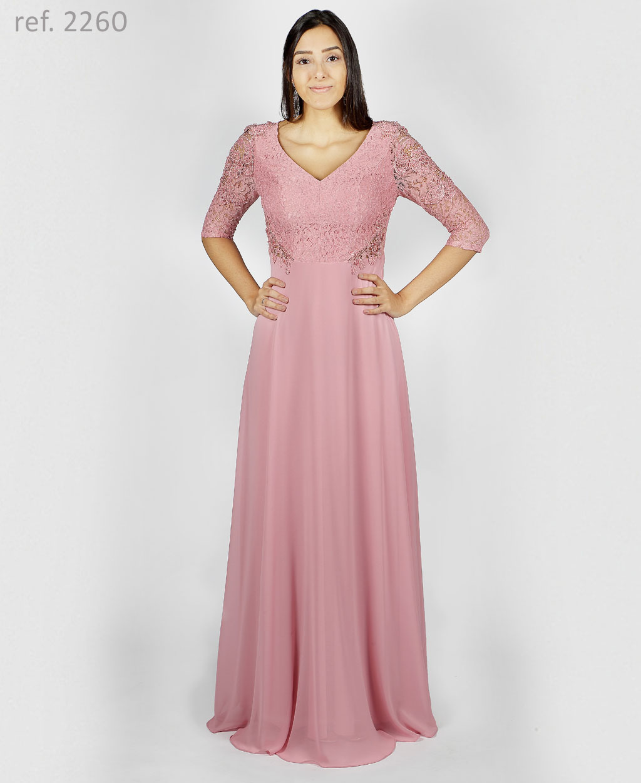 Vestido de renda para festa com manga 3/4 e bordado rosê - Ref. 2260