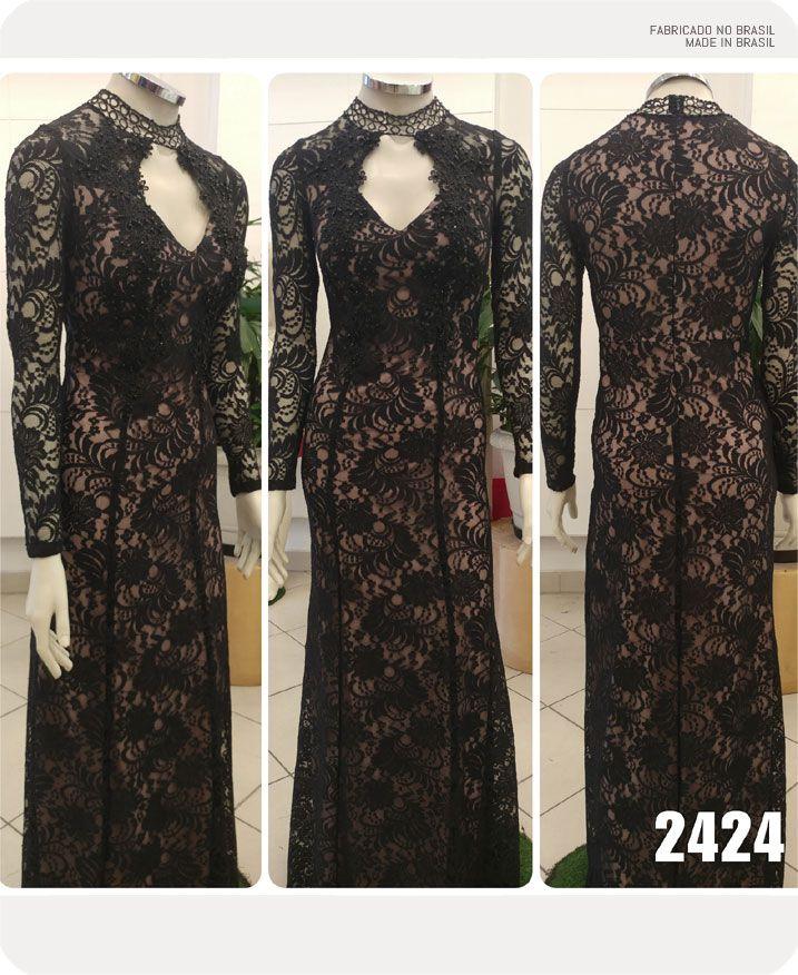 Vestido de renda Preto com Nude manga longa com detalhes em guippir - Ref. 2424