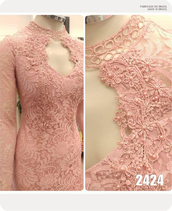 Vestido de festa Rose manga longa com detalhes em guippir - Ref. 2424