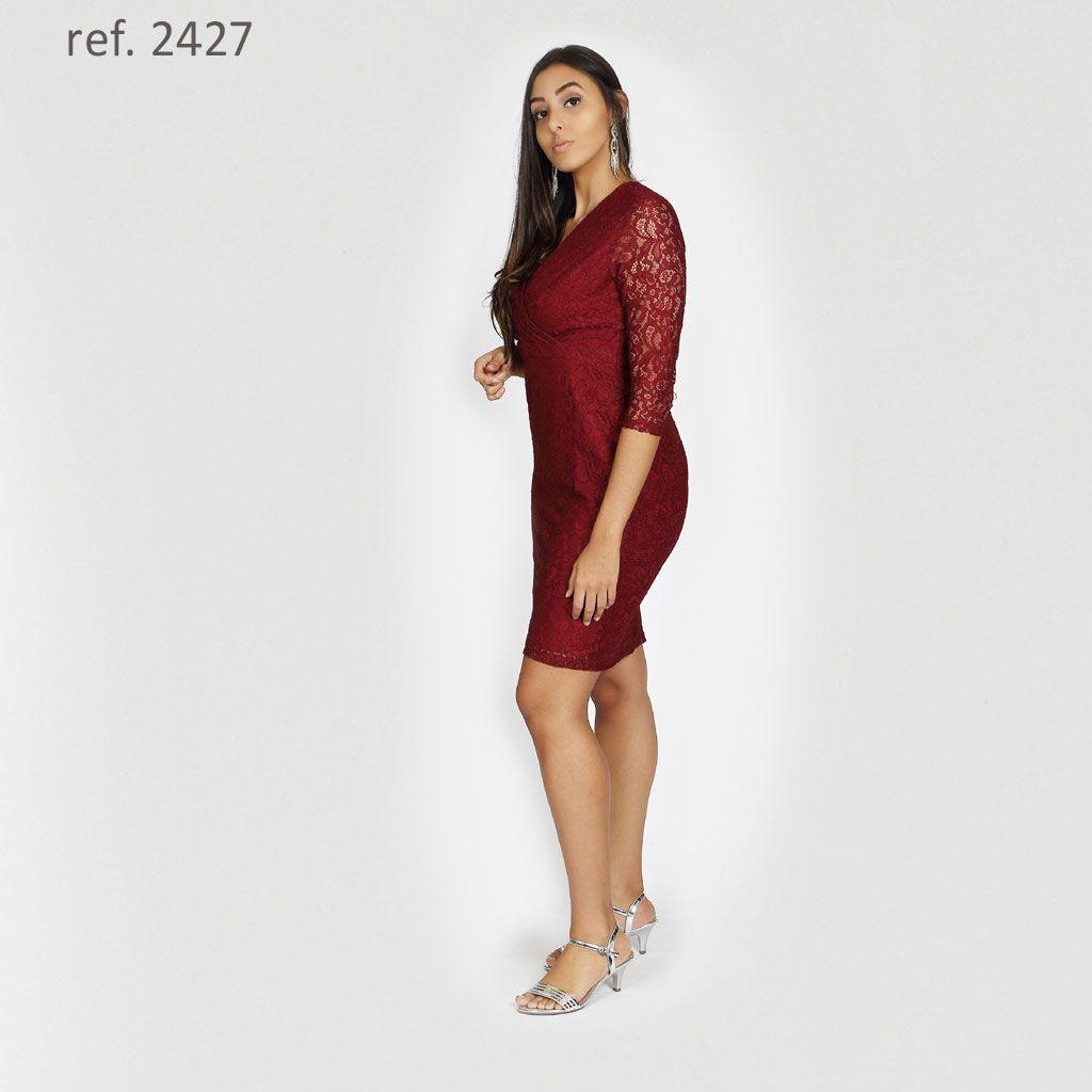 Vestido de renda tubinho manga 3/4 - Ref. 2427