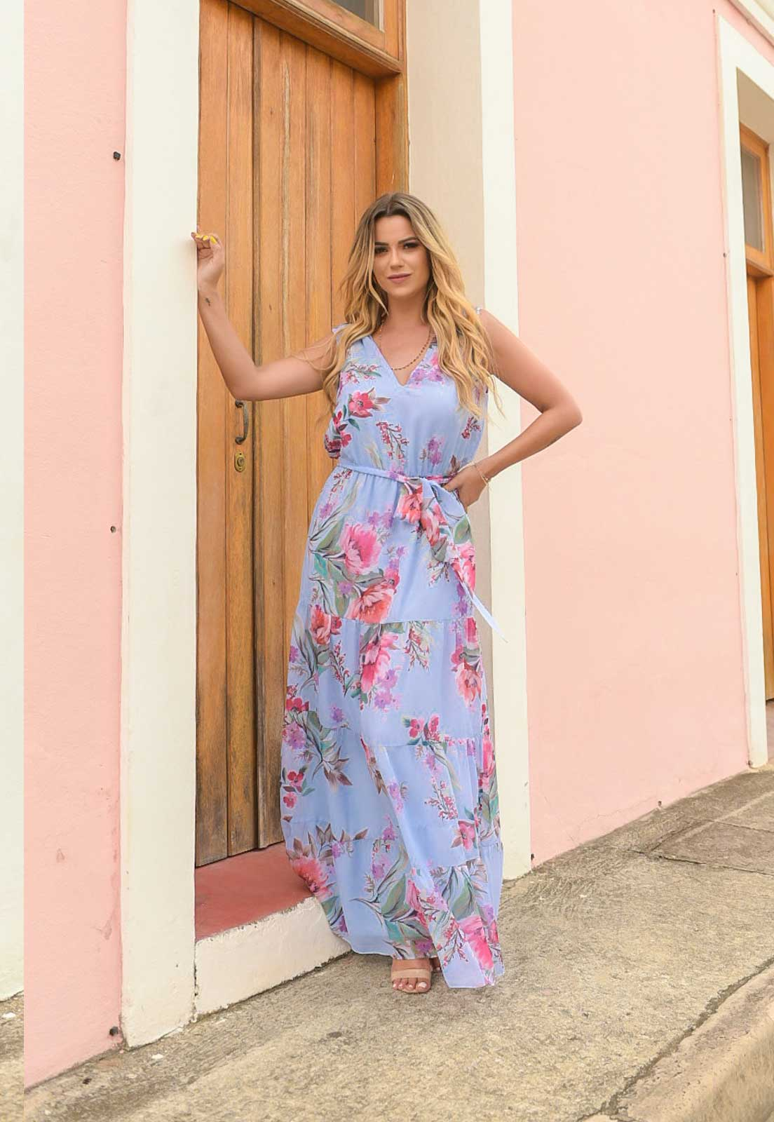 vestido azulsimples