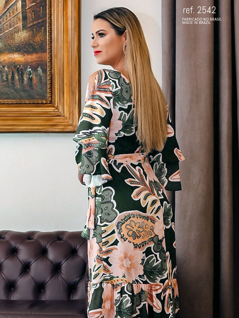 vestido longo de cetim estampado
