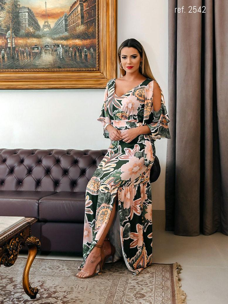 vestido estampado longo com manga babado