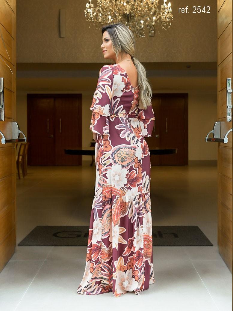 vestido de festa estampado com manga