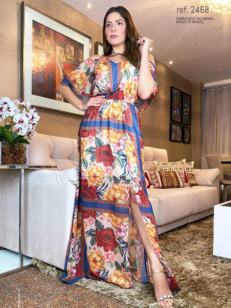 Vestido  estampado longo com Nathalia Diogenes - Ref. 2468