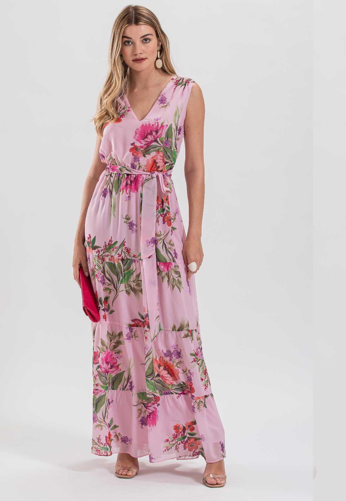 Vestido estampado floral rosa  - Ref. 2648