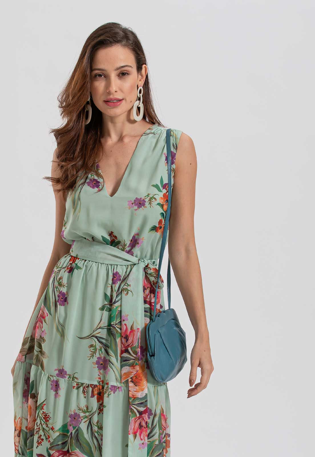 vestido verde estampado