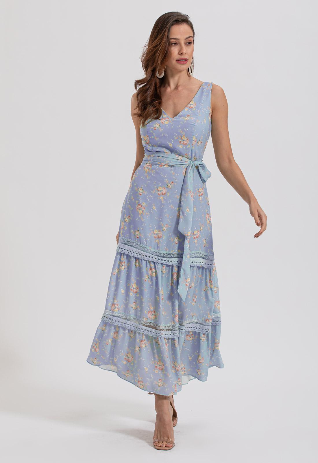 Vestido estampado midi azul Ref. 2640