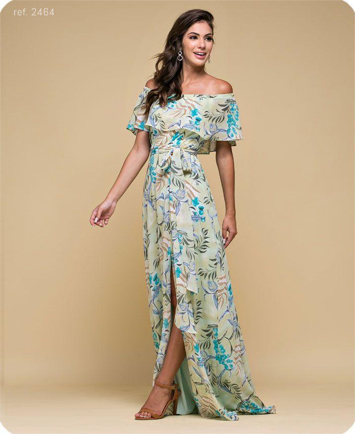 Vestido estampado ombro a ombro com fenda - Ref. 2464 flor