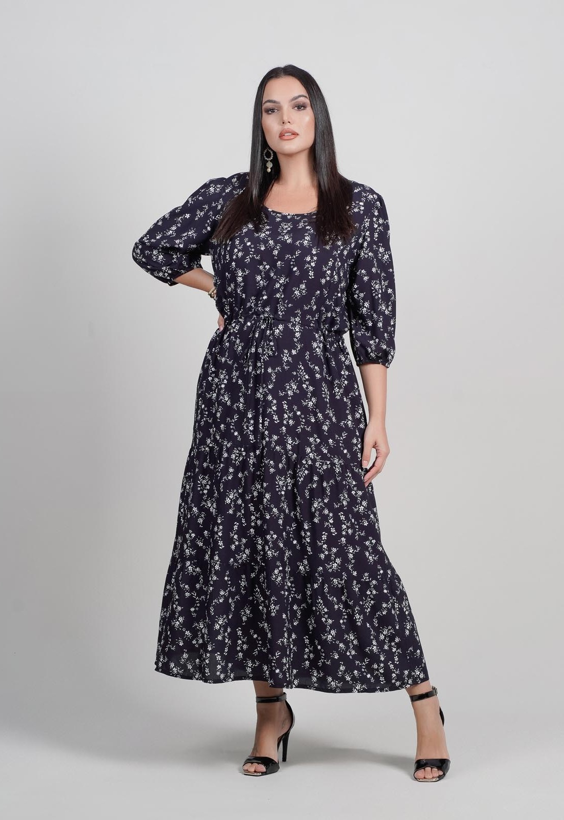 Vestido estampado  plus size com manga 3/4  Ref. U64421
