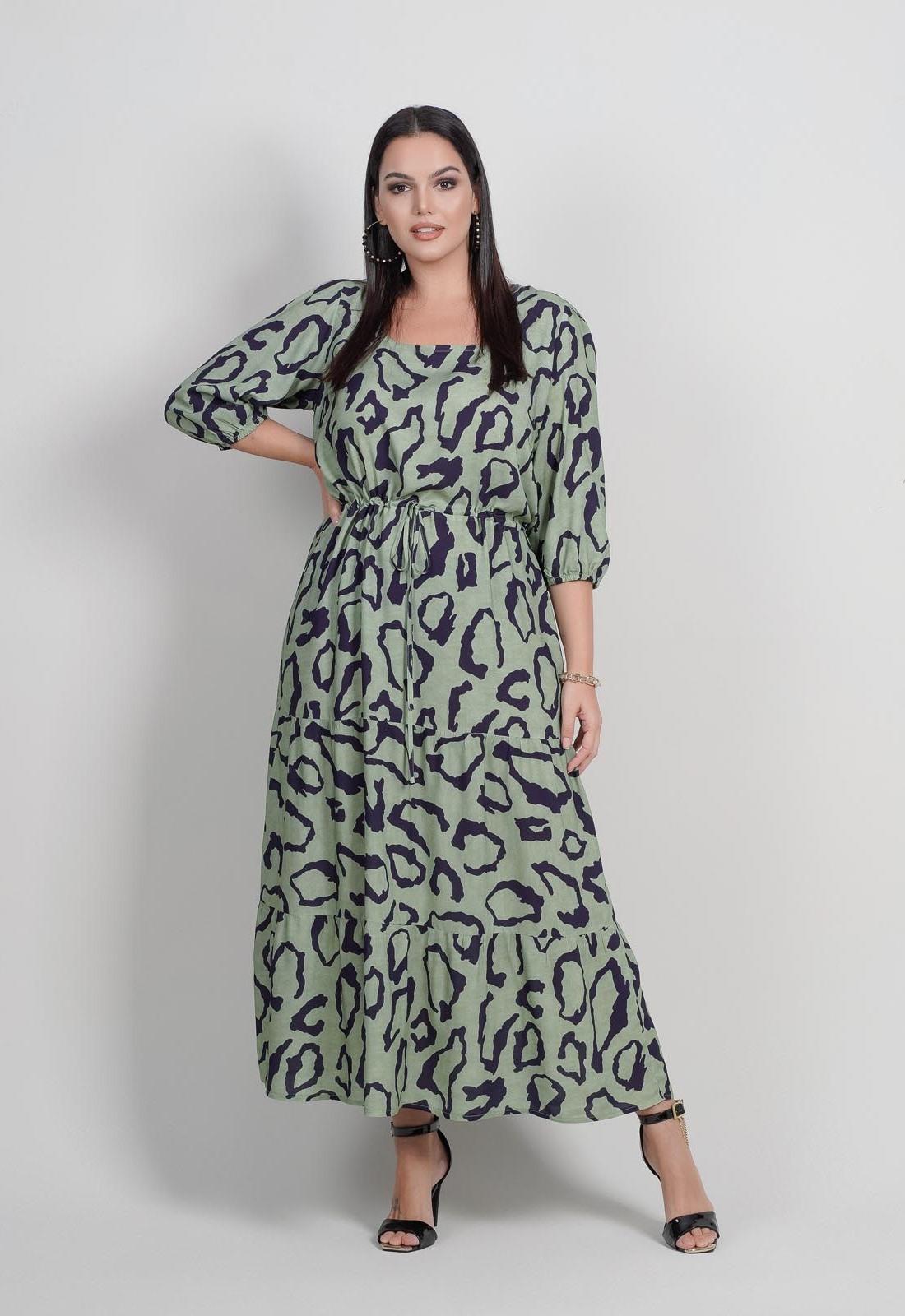 Vestido oliva estampado  plus size com manga  Ref. U64521