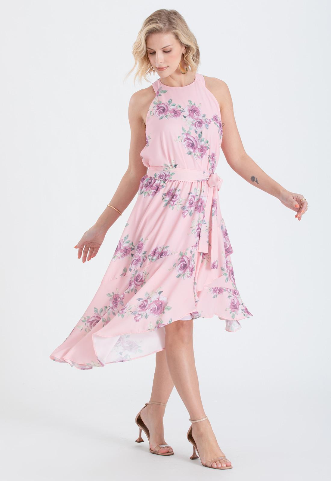 Vestido estampado rosa curto - Ref. 2682