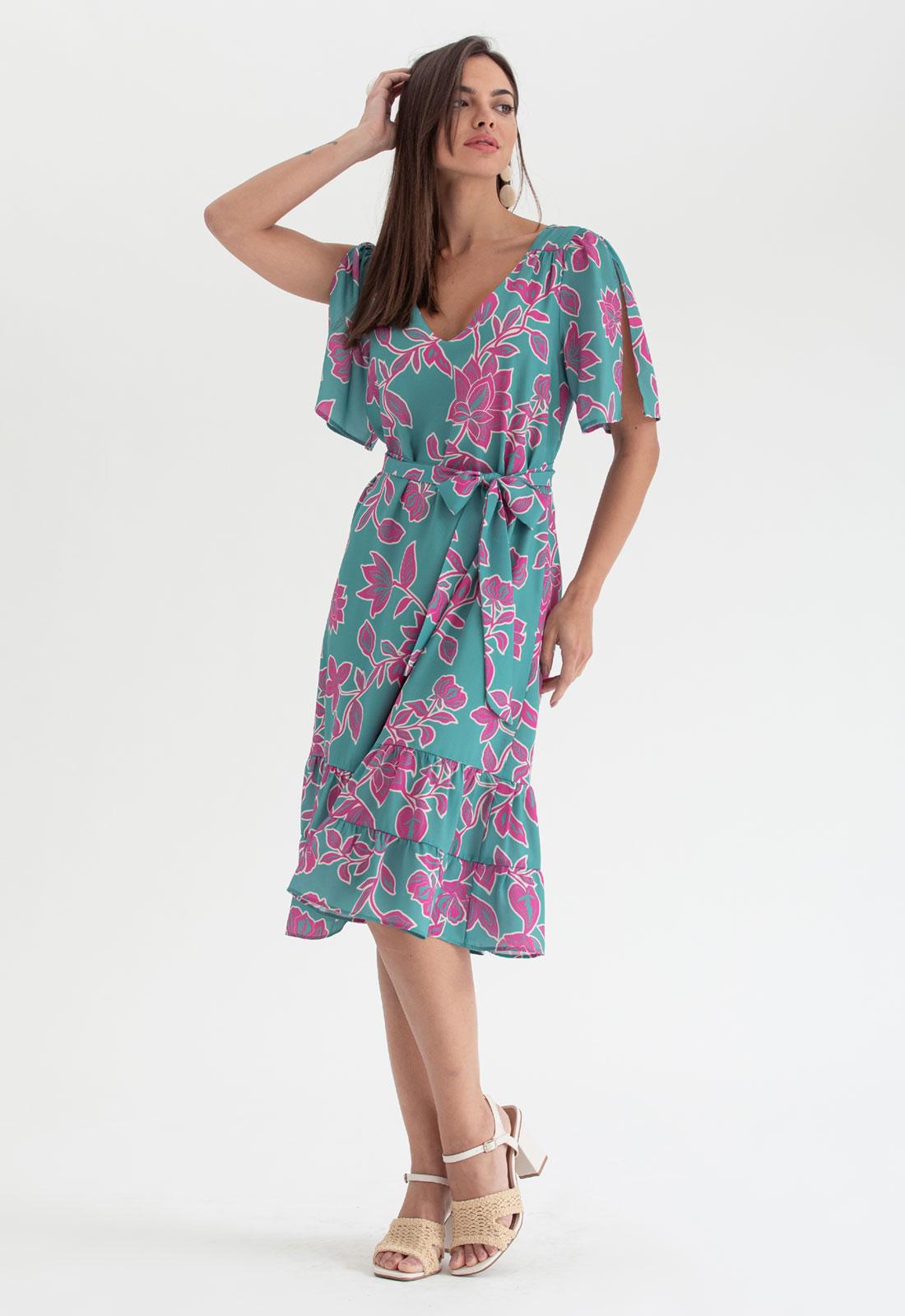 Vestido estampado trapezio ciano pink ref. 2701