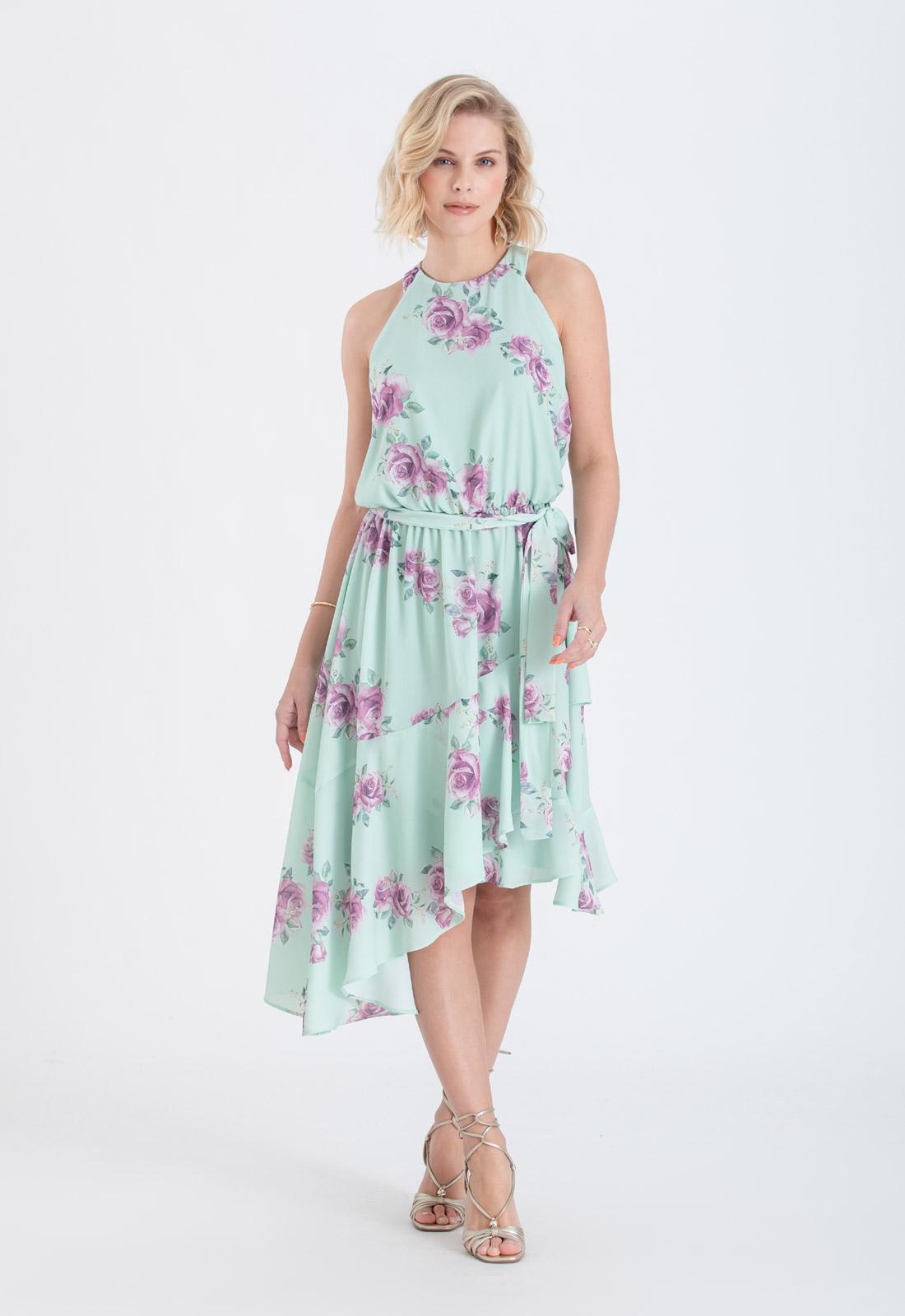 Vestido estampado verde mullet curto - Ref. 2682