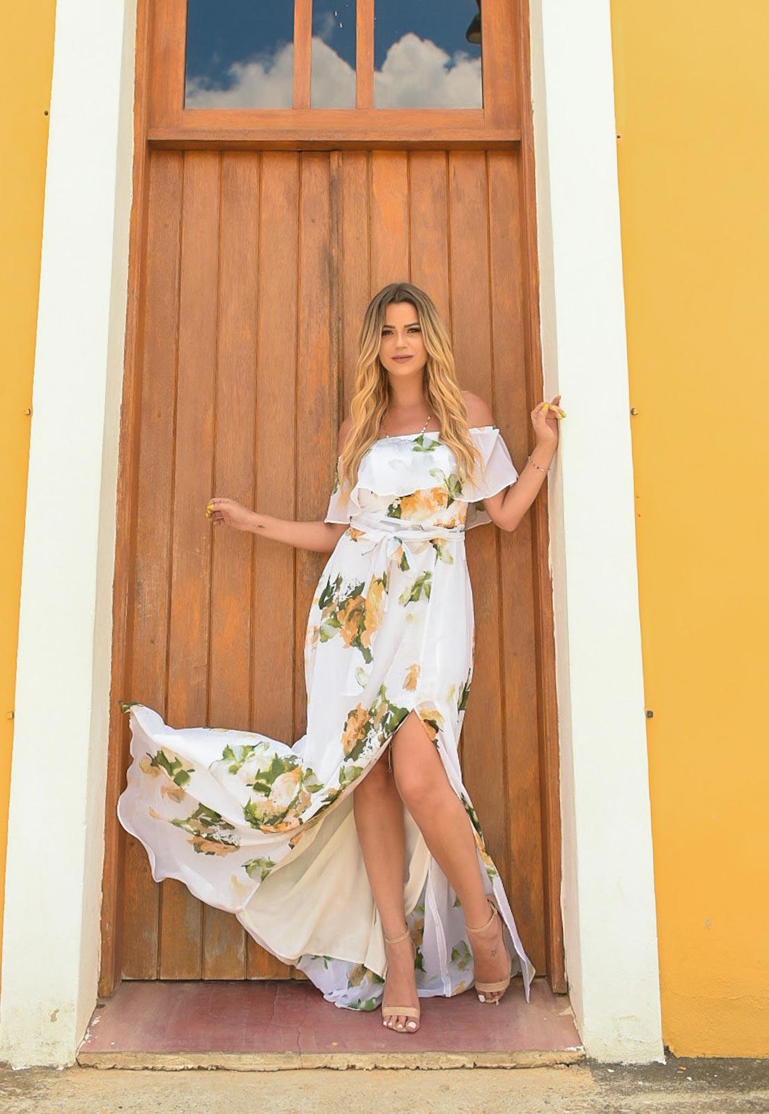 vestido de madrinha floral