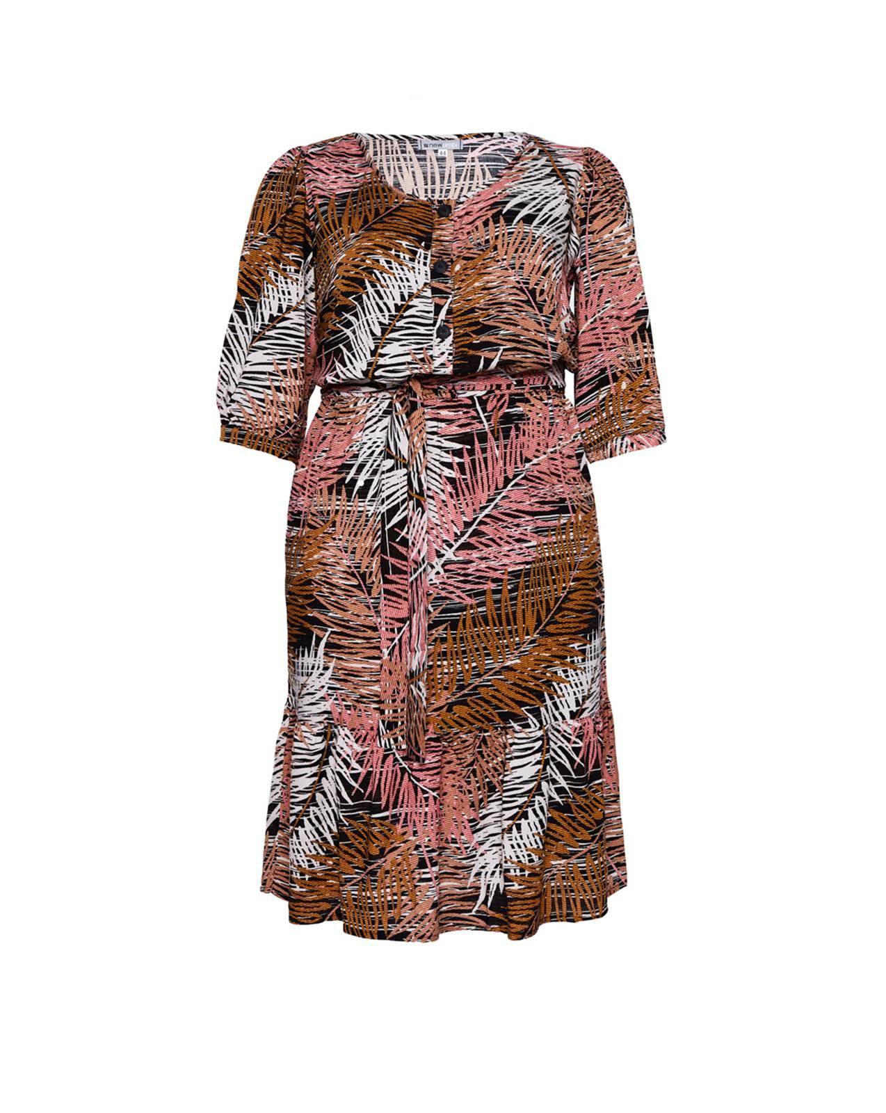 Vestido  goiaba estampado plus size com manga 3/4  Ref. U61721