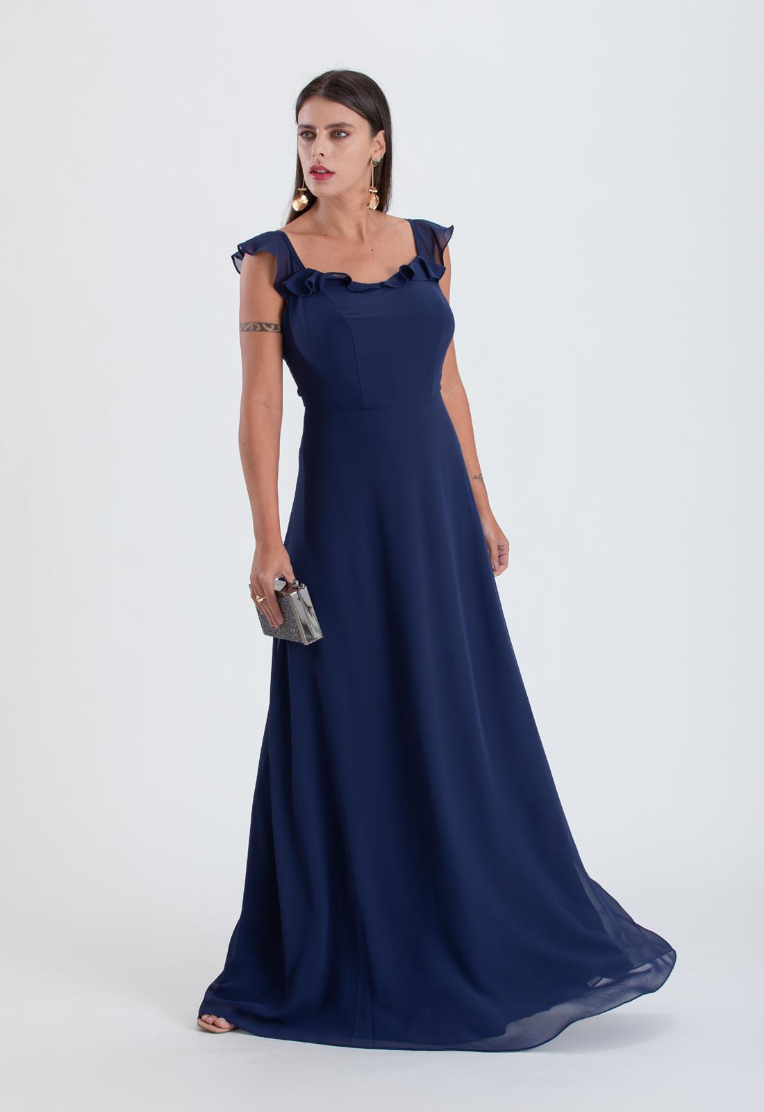 Vestido longo azul marinho de crepe com alça de babados - Ref. 2315