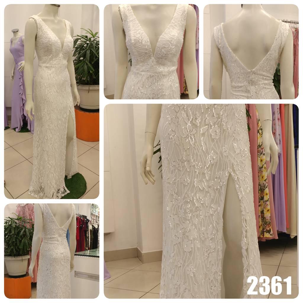 Vestido longo Branco de tule bordado de Paetê - Ref. 2361