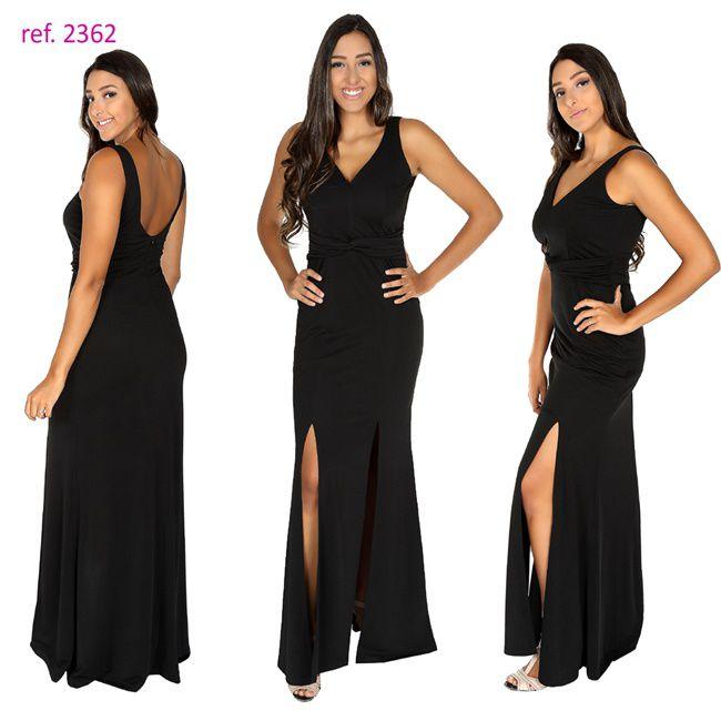 Vestido longo Crepe de malha com fenda dupla ref. 2362 s